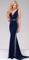 Jovani Jersey V-neck Crystal Embellished Evening Dress