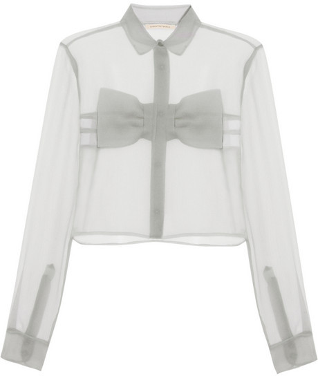 Christopher Kane Bow-front crinkled-chiffon shirt