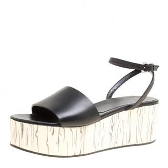 McQ Black Leather Wooden Platform Ankle Wrap Sandals Size 38