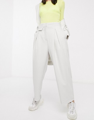 Weekday pleat front wide leg pants in light grey