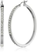 Jessica Simpson Rhodium/Crystal Semi Pave Hoop Earrings