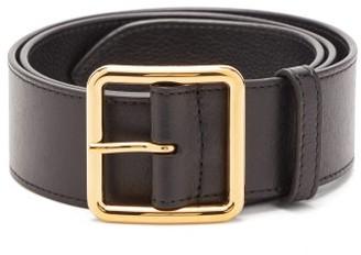Alexander McQueen Logo-engraved Leather Belt - Womens - Black Gold