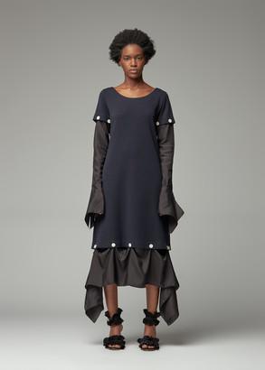 Lanvin Women's Scoop Neck Long Sleeve Dress in Navy Size 38