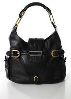 Jimmy Choo Black Leather Gold Tone Small Tulita Flap Satchel Handbag