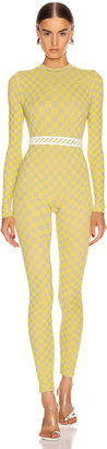 Off-White Off White Bubble Check Jumpsuit in Yellow   FWRD