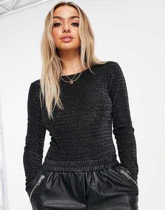 NA-KD glitter low back bodysuit in black
