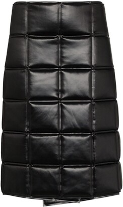 Bottega Veneta Quilted Wrap Knee-Length Skirt