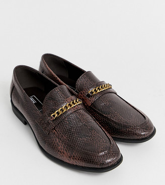 ASOS DESIGN Wide Fit loafers in faux leather with snake effect