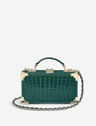 Aspinal of London Trinket Box crocodile-embossed leather clutch bag