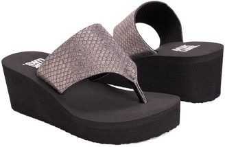 Muk Luks Women's Sandals Pewter - Pewter Snake-Embossed Marlee Wedge Sandal - Women