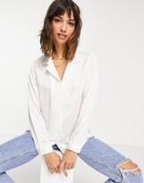 Asos Design DESIGN relaxed satin long sleeve shirt in cream