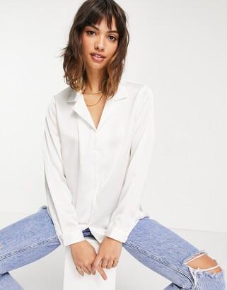 Asos DESIGN relaxed satin long sleeve shirt in cream