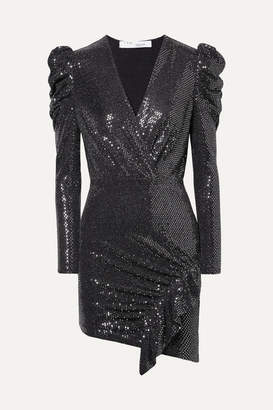 IRO Lou Lou Ruched Sequined Stretch-jersey Mini Dress - Black