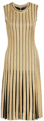 St. John Metallic Cable Stripe Knit Dress