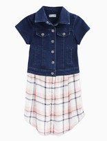 Splendid Little Girl Cap Sleeve Indigo Knit and Woven Top