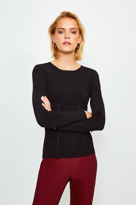 Karen Millen Long Sleeve Rib Knitted Crew Neck Top