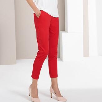 "Anne Weyburn Stretch Cotton Straight Leg Trousers, Length 26.5"""