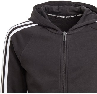 adidas Girls 3 Stripe Full Zip Hoodie - Black