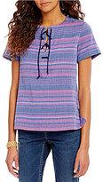 Tommy Bahama Espirito Scoop Neck Short Sleeve Tie-Neck Striped Tunic