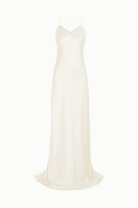 Halfpenny London Luella Organza-trimmed Satin Gown - White