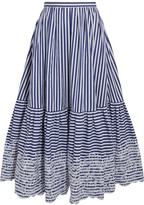 Erdem Leigh Embroidered Striped Cotton Midi Skirt - Navy