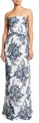 Oscar de la Renta Floral Fil Coupe Strapless Column Gown