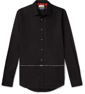 Alexander McQueen Slim-Fit Zip-Detailed Cotton-Poplin Shirt