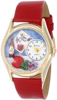 Whimsical Watches Women's C0310004 Classic Gold Wine & Cheese Red Leather And Goldtone Watch