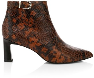 Joie Rawly Snakeskin-Embossed Leather Ankle Boots