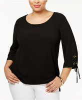 NY Collection Plus Size Lace-Up-Sleeve Top
