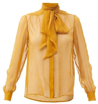 Saint Laurent Pussy-bow Silk-chiffon Blouse - Yellow