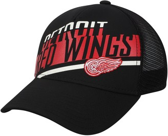 adidas Men's Black Detroit Red Wings Laser Trucker Adjustable Snapback Hat
