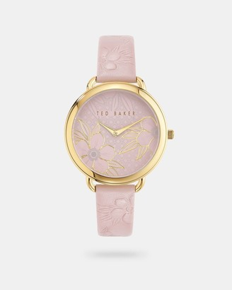 Ted Baker Floral Embossed Leather Strap Watch