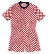 Marni Little Girl's & Girl's Square-Print Short Jumpsuit