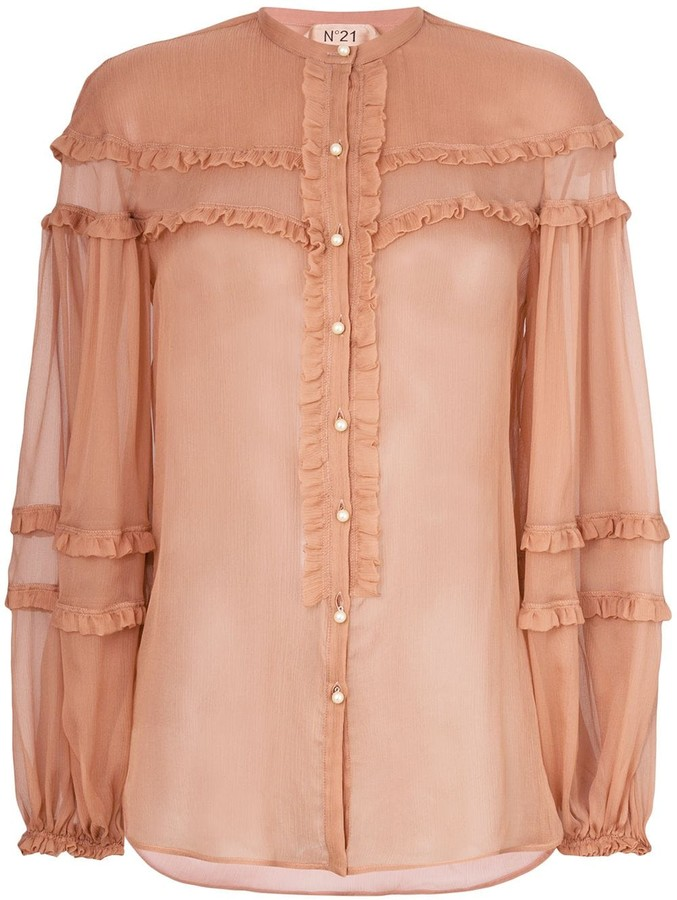 f27b9347337 ruffle detail sheer blouse