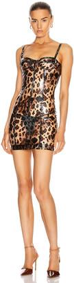 LaQuan Smith Bustier Dress in Cheetah Vinyl   FWRD