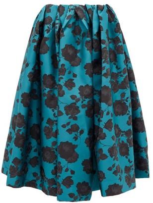 Marques Almeida Marques'almeida - Floral Brocade Midi Skirt - Womens - Blue Black