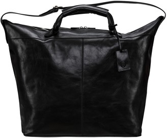 Maxwell Scott Bags Luxury Real Leather Black Luggage Bag