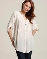 BCBGMAXAZRIA Silk Crepe De Chine Pintucked Tunic