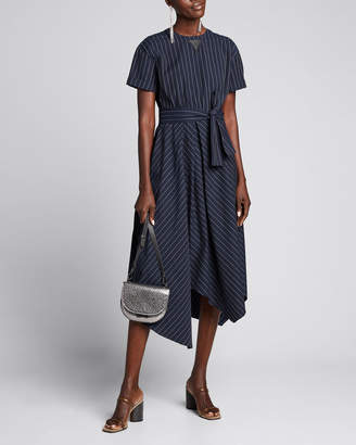 Brunello Cucinelli Striped Cotton-Poplin Shirt-Sleeve Dress