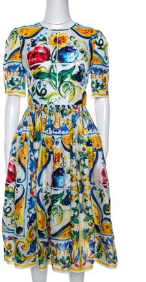 Dolce & Gabbana Multicolor Majolica Print Silk Organza Midi Dress M