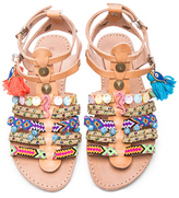 Elina Linardaki Saltwater Leather Sandals in Neutrals,Neon.