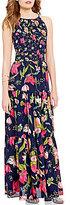 GB Floral Print Tiered Keyhole-Back Maxi Dress