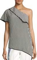 Diane von Furstenberg Women's One Shoulder Side Slit Silk Blouse