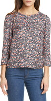 Rebecca Taylor Twilight Ditsy Floral Ruched Neck Silk Blend Top