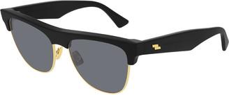 Bottega Veneta Rectangular Acetate & Metal Sunglasses
