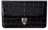 Alexander McQueen Snake Embossed Patent Heart Clutch.