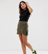 Bershka utility mini skirt in green