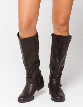 Qupid Side Buckle Womens Riding Boots