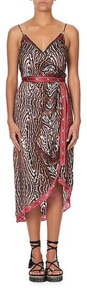 Camilla Asymmetrical Printed Silk Wrap Dress